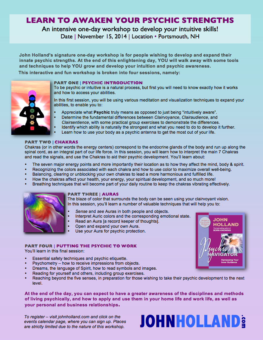 Learn To Awaken Your Psychic Strengths Workshop